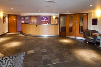 Reception area at Premier Inn, Heathley Park, Leicester