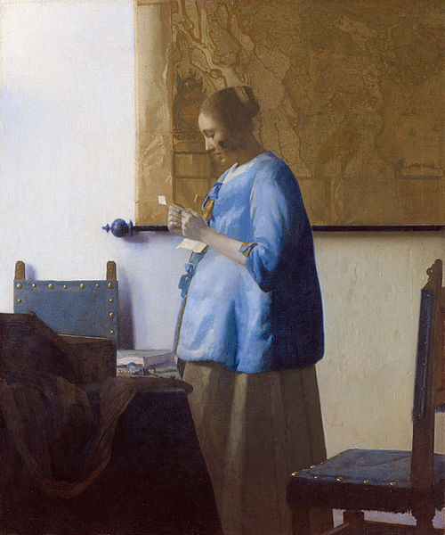 Woman reading a letter by Johannes Vermeer ca 1662