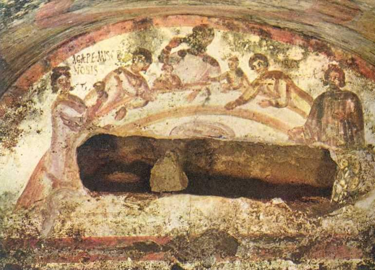 Fresco of a female figure holding a chalice from Catacomb of Saints Marcellinus & Peter in Rome